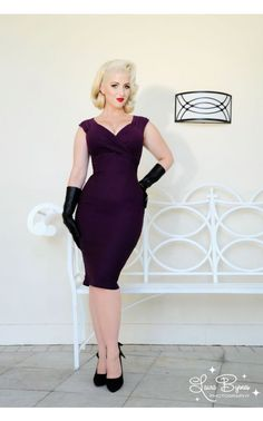 Pinup Couture - Erin Dress in Plum | Pinup Girl Clothing