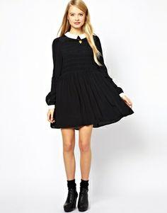 Image 4 ofASOS Smock Dress With Contrast Collar