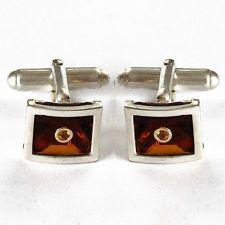 14k gold & Sterling silver Cufflinks 925 faceted sapphire rectangular... Lot 840