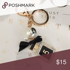 Chanel perfume style handbag charm Bling pearl perfume bottle keychain bag charm Accessories Key & Card Holders