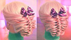 Причёска на основе плетения из петелек.