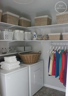 The laundry room is often an overlooked and overworked room in the home. It needs to be functional of course, but what about beautiful? Whether you have a small laundry closet or tiny laundry room, your laundry area can be… Continue Reading → Laundry Room Shelves, Laundry Room Remodel, Basement Laundry, Laundry Closet, Small Laundry Rooms, Laundry Storage, Laundry Room Organization, Laundry Room Design, Laundry In Bathroom