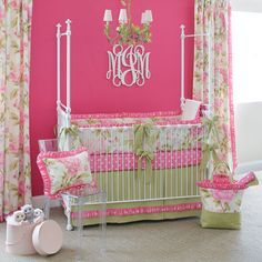 baby nursery with yellow walls and pink and green bedding - Google Search