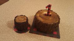 Lumberjack themed 1st birthday cake with smash