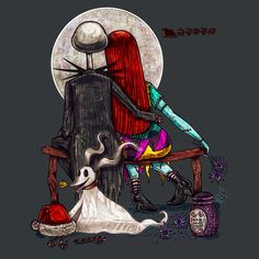 T'was the night before Christmas and all through the house not a creature was stirring not even a mouse. Nightmare Before Christmas Wallpaper, Nightmare Before Christmas Tattoo, Tim Burton Art, Ghost Cat, Jack And Sally, Arte Horror, Halloween Town, Jack Skellington, Dark Art