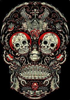xcellent sugar skull wallpaper by - 64 - Free on ZEDGE™ Mexican Skulls, Mexican Art, Tatoo Crane, Caveira Mexicana Tattoo, Silkscreen, Totenkopf Tattoos, Candy Skulls, Sugar Skulls, Day Of The Dead Skull
