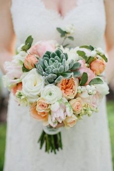 Succulent Bridal Bouquets {Trendy Tuesday} | Confetti Daydreams - A cream, peach and pink flower and succulent bouquet ♥  ♥  ♥ LIKE US ON FB: www.facebook.com/confettidaydreams ♥  ♥  ♥ #Wedding #Succulents #Bouquets