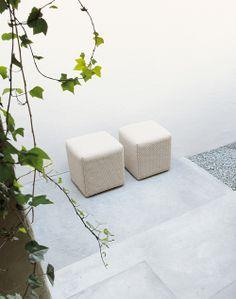 indoor outdoor stone pouf