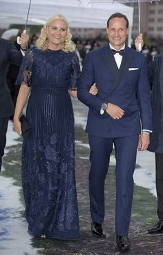 A newly-shaven Crown Prince Haakon of Norway colour-coordinates with wife Crown Princess Mette-Marit