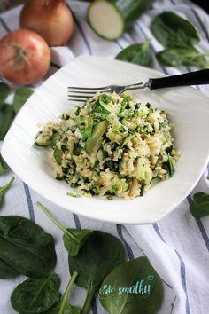 Buckwheat Bulgur with Zucchini and Spinach Buckwheat, Couscous, Bento, Mozzarella, Risotto, Zucchini, Spinach, Grains, Veggies