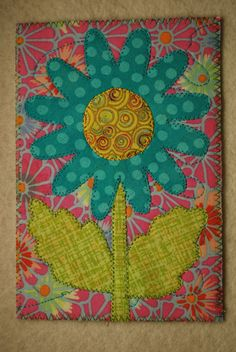 Turquoise Flower Fabric Postcards, Flower Quilts, Turquoise Flowers, Mug Rugs, Post Card, Applique Quilts, Fiber Art, Canvas Fabric, Needlework