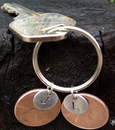 Personalized Hand Stamped Penny Keychain for by SimplyEdgyDesigns, $12.00