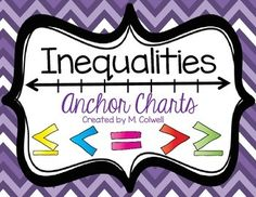Check out my featured freebie! Inequalities Anchor Charts includes a fun and bright reminder for your students on the symbol, vocab, and graphing of: greater than, less than, greater than or equal to, less than or equal to, and equal to.