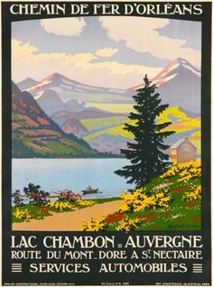 Lac-Chambon-Auvergne-French-France-Vintage-Travel-Advertisement-Poster-Print