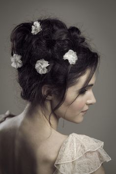Romantic updo and hair adornments from Love By Susie