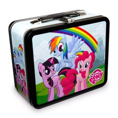 "My Little Pony Group Lunch Box ~ ""Carry the magic of friendship, rainbows and a snack in one of these bright and adorable My Little Pony lunchboxes. The metal lunchboxes have embossed artwork of Rainbow Dash and your other favorite ponies."""