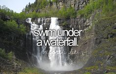 Swim under a waterfall. # Bucket list # Before i die. done it already but wanna do it again! The Bucket List, Bucket List Before I Die, Summer Bucket Lists, San Diego, Dream Dates, Rosarito, Never Stop Dreaming, Life List, Just Dream