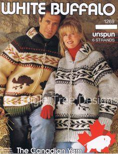 Cowichan Sweater Knitting Patterns - White Buffalo by KilbellaVintage Sweater Knitting Patterns, Knit Patterns, Vintage Patterns, Clothing Patterns, Knitting Ideas, Knitting Projects, Style Patterns, Cowichan Sweater, Zip Sweater