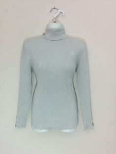 Style & Co silver sparkly stretch turtleneck sweater knit top, XL, #3652 #Styleco #TurtleneckMock
