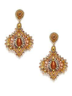 Bronze Bead & Crystal Earrings