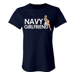 Navy Girlfriend Pinup: Custom Junior Fit Bella Crewneck T-Shirt - Customized Girl loveeeee