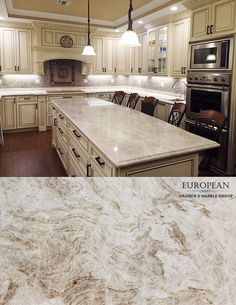 Taj Mahal quartzite has a soft look, a very light color of a white marble, and it's also just as dense and durable as a granite. Not to be confused with quartz countertop material, this is a natural stone product. There's a beautiful richness and depth t Granite Countertops Kitchen, Kitchen Countertop Materials, Kitchen Remodel Countertops, New Kitchen, Countertops, Kitchen, Kitchen Marble, Kitchen Remodel, Trendy Kitchen