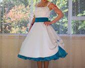 1950s Rockabilly 'Elise' Wedding Dress, with Sweetheart Neckline, Polka Dot Trim, Belt & Organza Petticoat- Any Colour - Custom Made to fit. $325.00, via Etsy.