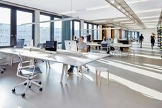 White Office Interior taking advantage of Natural Light