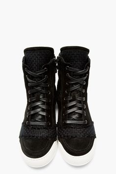 BALMAIN Black suede paneled high-top sneakers