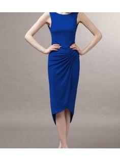 e556996c450c5 Unicolor Middle Calf Length Deep Blue Sleeveless Dress
