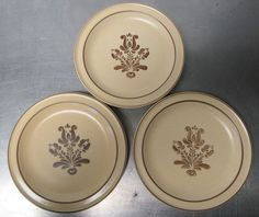 "3 Vintage Pfaltzgraff Village Brown Tan 7"" Bread Salad Side Plates Stoneware  #Pfaltzgraff"