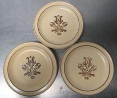 """3 Vintage Pfaltzgraff Village Brown Tan 7"""" Bread Salad Side Plates Stoneware  #Pfaltzgraff"""