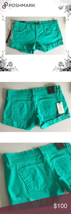 "{James Jeans} 'Shorty' Boyfriend Fit Denim Shorts Manufacturer color is a peppermint. Waist across measures approx 18"". Rise is approx 8"". Inseam is approx 2.5"". Button and zip fly closure. Frayed hem. Cotton/Lycra. Fabric provides stretch. New with tags. Bundle for discounts! 5lb bundle weight limit. Thank you for shopping my closet!  Bin 85 James Jeans Shorts Jean Shorts"