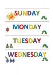 English worksheet: weekdays