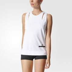 Stay cool and composed as you push your workout limits in the adidas by Stella McCartney Training Climachill Tank Top. It features cutout details for a sleek, sculpted look. climachill™ helps regulate your temperature as it guides heat and sweat away from your skin. Styled with a relaxed build and drop armholes for easy movement. Slits above the chest and at the side seams add extra ventilation.