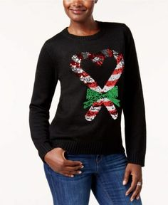 4c4be2c659f Adorable Christmas sweater features 2 sequined candy canes that form a  heart shape.