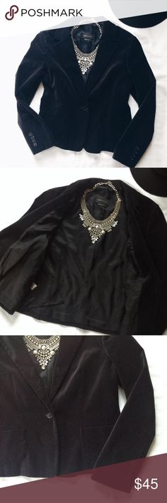 BCBG Maxazria Black Velvet Blazer Classy blazer with beautiful velvet material! 98% cotton, 2% spandex. In fantastic condition. Clean lining. One button closure on front. Two pockets on the front. Some lint and a couple dirt spots but would come out in a cleaning. Dry clean only. BCBGMaxAzria Jackets & Coats Blazers