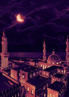 Arabian nights by hosio on deviantart - read more - night illustration, nig Aladdin Arabian Nights, Arabian Nights Theme, Wrath And The Dawn, Night Illustration, Botanical Illustration, Arabian Art, Image Citation, Night Aesthetic, Islamic Wallpaper