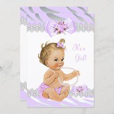 Invitación Chica Baby Shower Lilac Zebra Lace