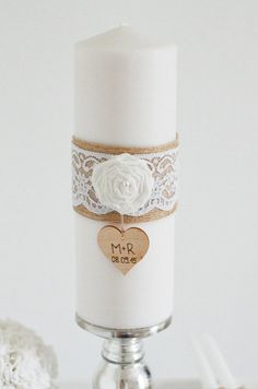 Wedding Candles & Lighting – Wedding Candle Personalized – Burlap & Lace – a unique product by little-pink-butterfly on DaWanda – # Candle Candles Diy Wedding, Wedding Favors, Rustic Wedding, Wedding Gifts, Wedding Decorations, Wedding Events, Weddings, Burlap Candles, Wedding Planer