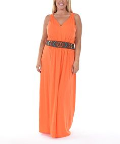 Orange Beaded-Waist V-Neck Maxi Dress - Plus #zulily #zulilyfinds