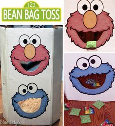 Simple instructions for creating a DIY bean bag toss game for a Sesame Street party. Could be easily replicated to fit any other party theme. {blue i style}