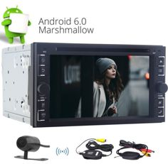 Wireless Camera Included ! 6.2 inch Android 6.0 Car Auto Radio 2GB RAM Quad Core Car DVD Player Double Din Car Stereo with Digital Touchscreen Support GPS Navigation/Bluetooth/Radio/Steering Wheel Control/WIFI 3G/USB SD/DAB…