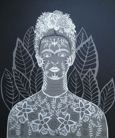The ghost of Frida Kahlo papercut