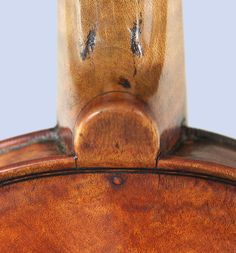 Neck heel, back view of Amati Violino Piccolo -- note the tiny peg at the base of the neck.