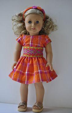 American Girl clothes plaid dress headband by OneGirlsDream, $25.00
