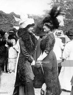 American Gilded Age era socialite: Consuelo Vanderbilt, (on left), c.1910, wearing an elaborate bird hat. ~ {cwl} ~ (getty images)