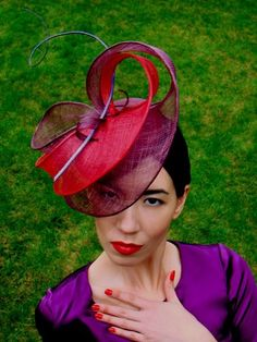 purple and rad sinamay statement hat