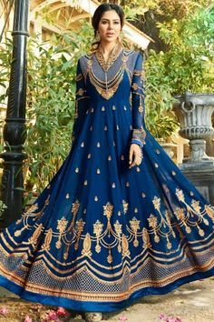 Blue Georgette Anarkali Suit With Dupatta - DMV14965