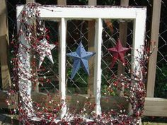 Old Window Frames: Americana Old Window Crafts, Old Window Decor, Old Window Projects, Shutter Projects, Repurposed Window Ideas, Windows Decor, Window Hanging, Primitive Crafts, Country Primitive